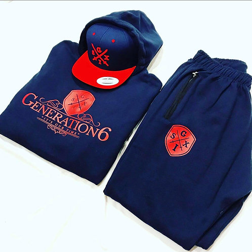 G6 Navy Blue/Red Jumpsuit + Snapback Combo