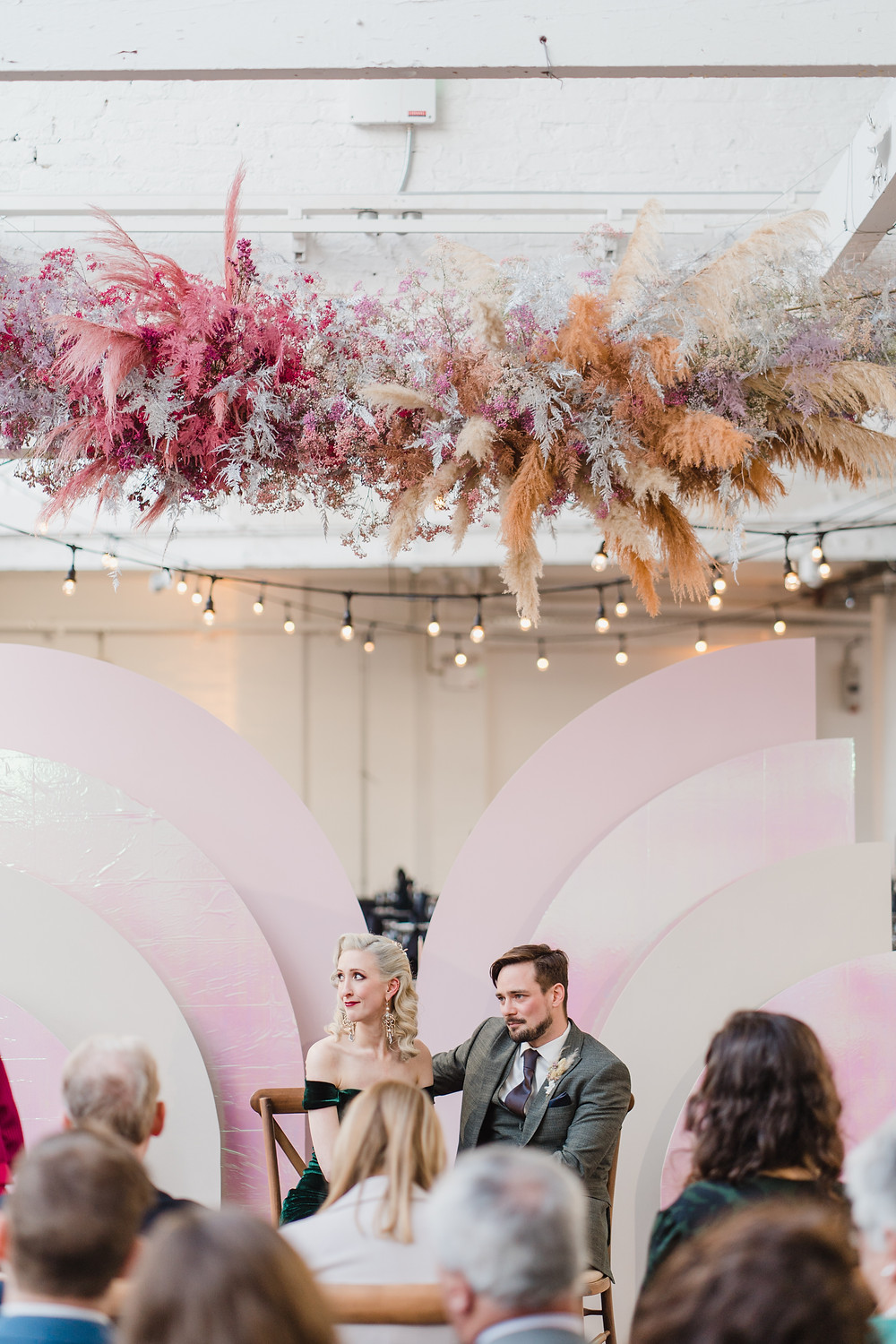 Pink, purple and golden flower cloud wedding iridescent mid century backdrop