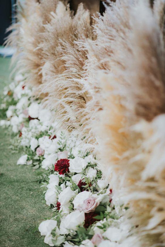 Pampas grass wedding trends prediction 2019 aisle
