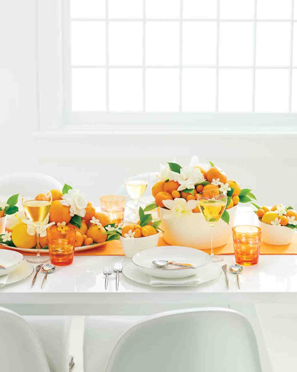 Orange wedding 2019 trends fruit table setting