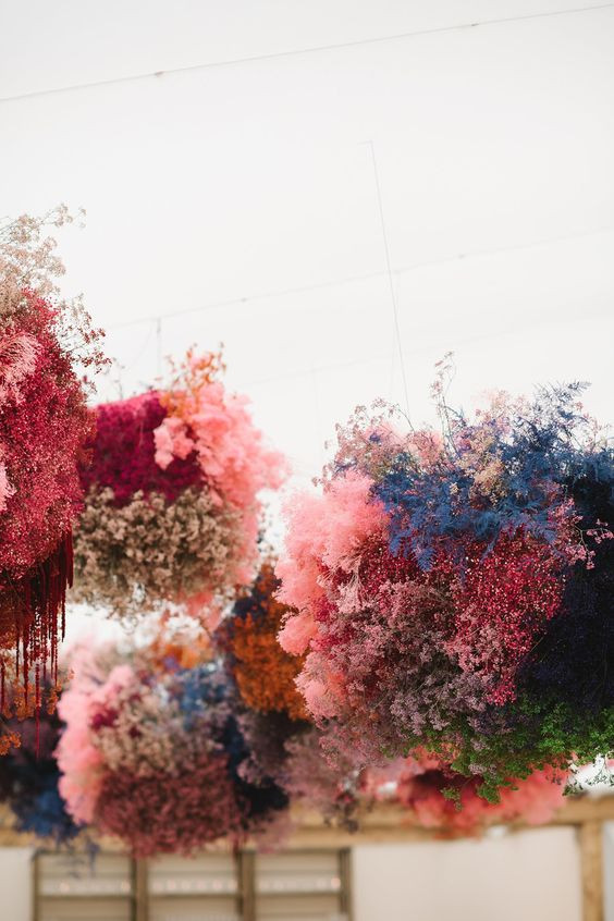 pink flower clouds wedding style design inspo