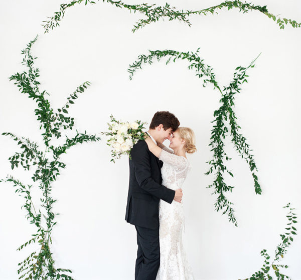 Minimalist vine backdrop wedding wall