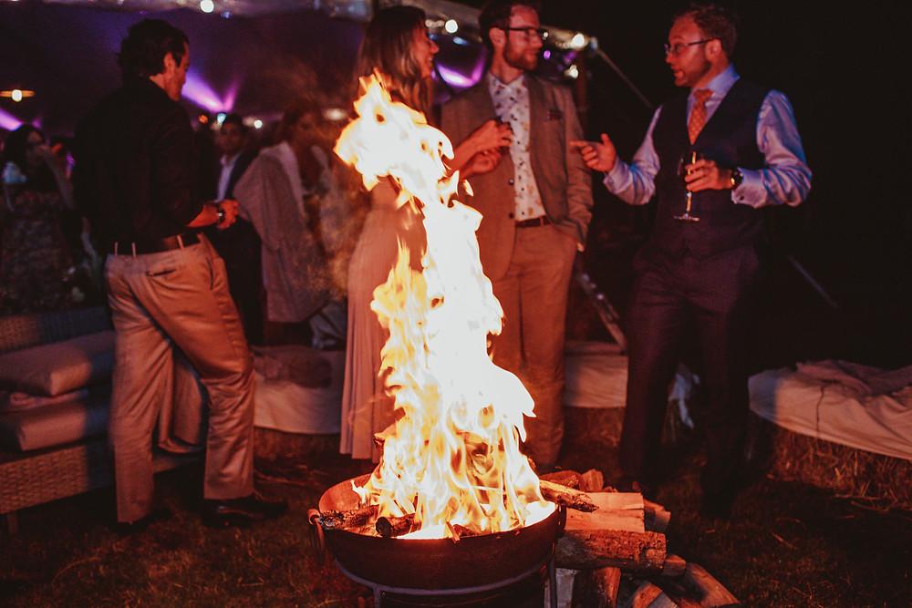 Wedding reception fire pit
