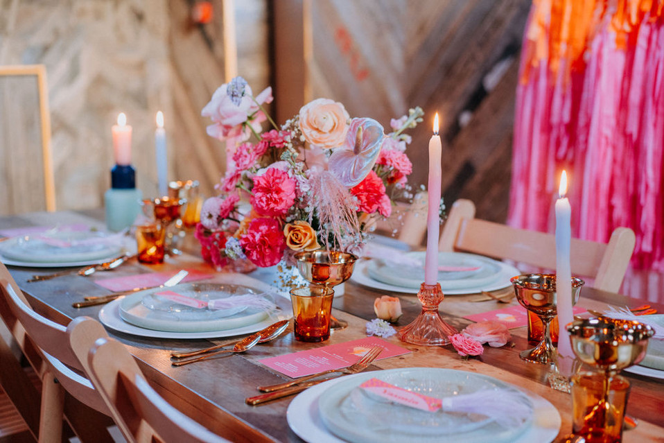 pink and pastel wedding flowers and table
