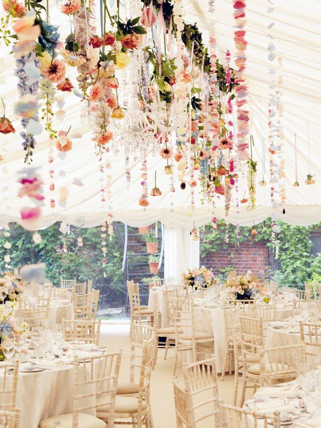 Hanging flowers wedding reception ribbon petals