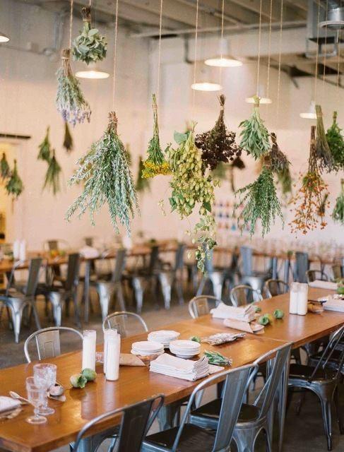 herbs hanging wedding reception decor styling