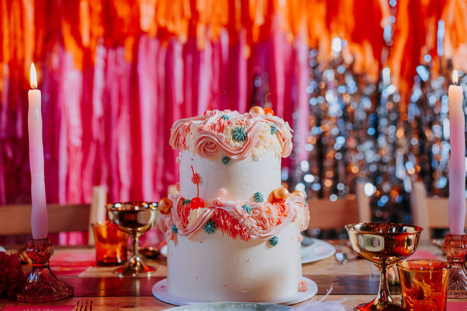 kitsch pink and red wedding cake