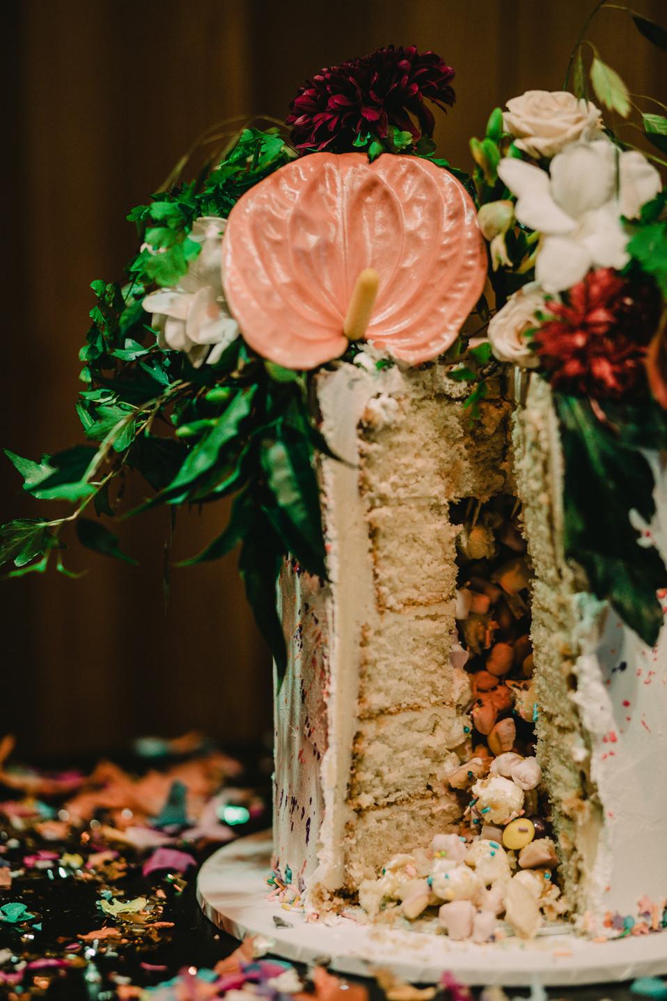 Vegan pinata wedding cake by Tiny Sarah's Cakes. Image Chloe Mary Photo.
