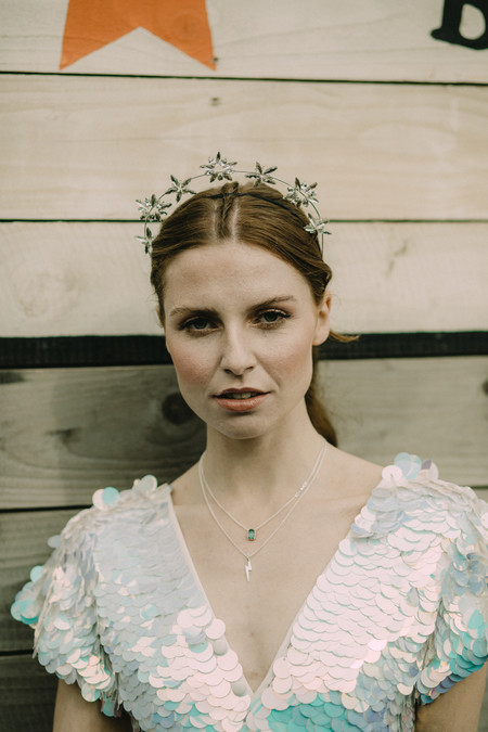 Bride sequin jumpsuit crown. Image Chloe Mary Photo