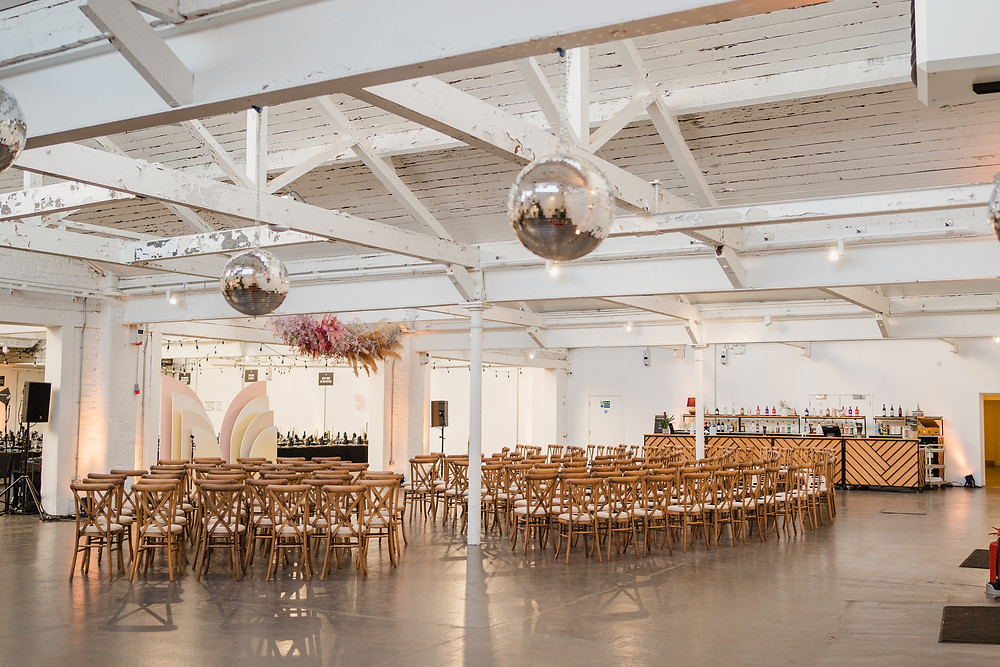 industrial wedding ceremony glitter ball