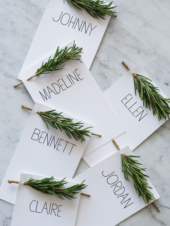 Rosemary DIY place cards wedding foliage