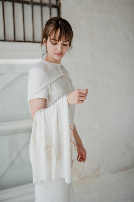 minimalist bridalwear cape