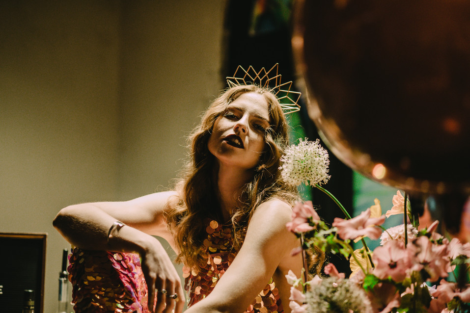 Rock n Roll Bride with crown by Lucky Sixpence. Image Chloe Mary Photo.