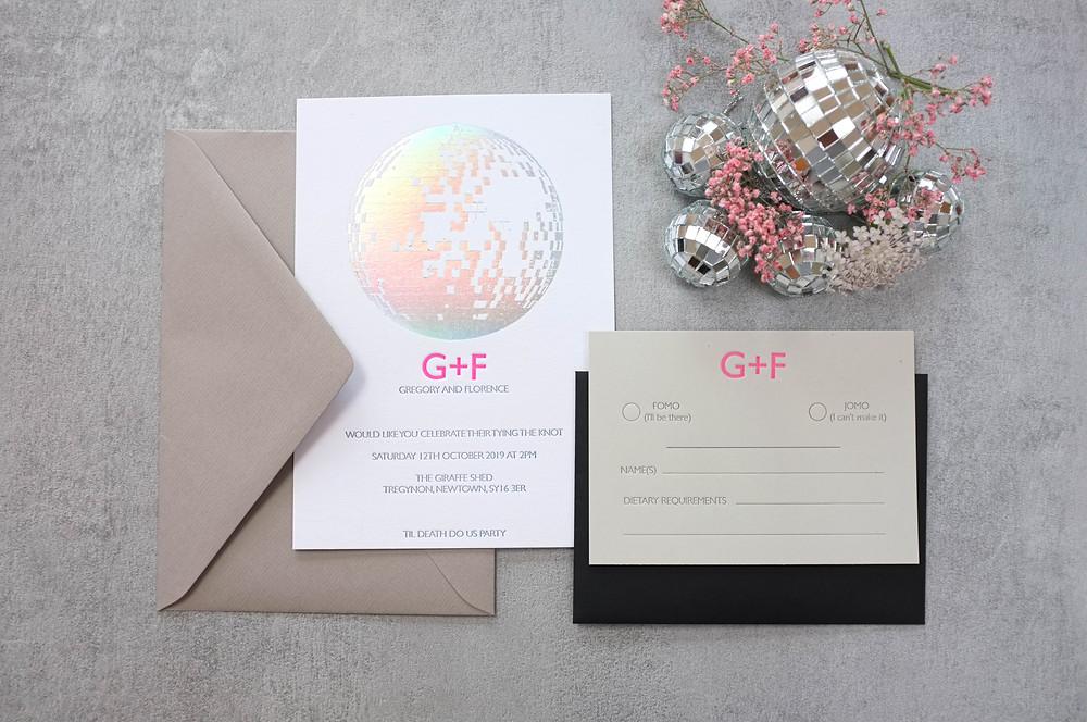 Modern graphic letterpress stationery london wedding