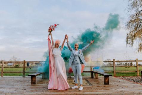 smoke bomb wedding portrait