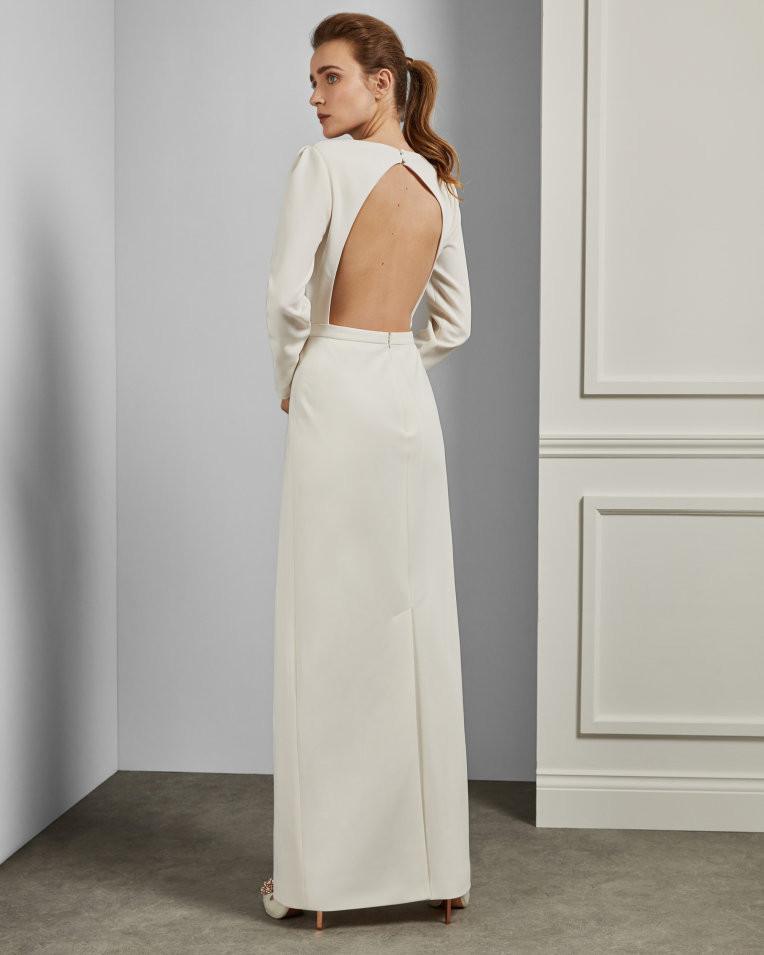 white wedding dress minimalist open back ted baker