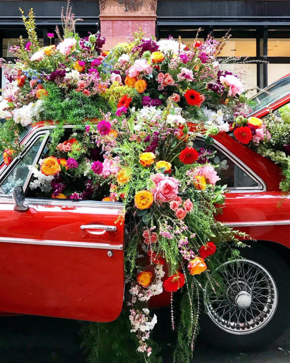 Flowerbomb soho floral car installation NYC