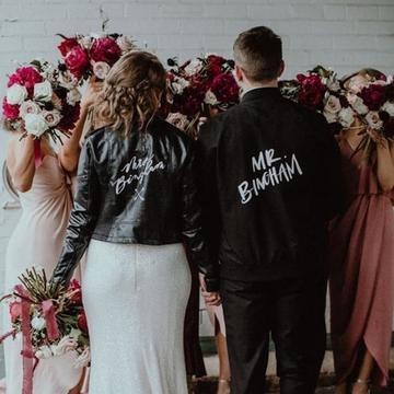 Leather jacket personalised customised diy painted couple wedding