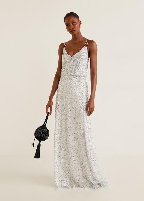 sequinned gown long maxi bridal dress mango