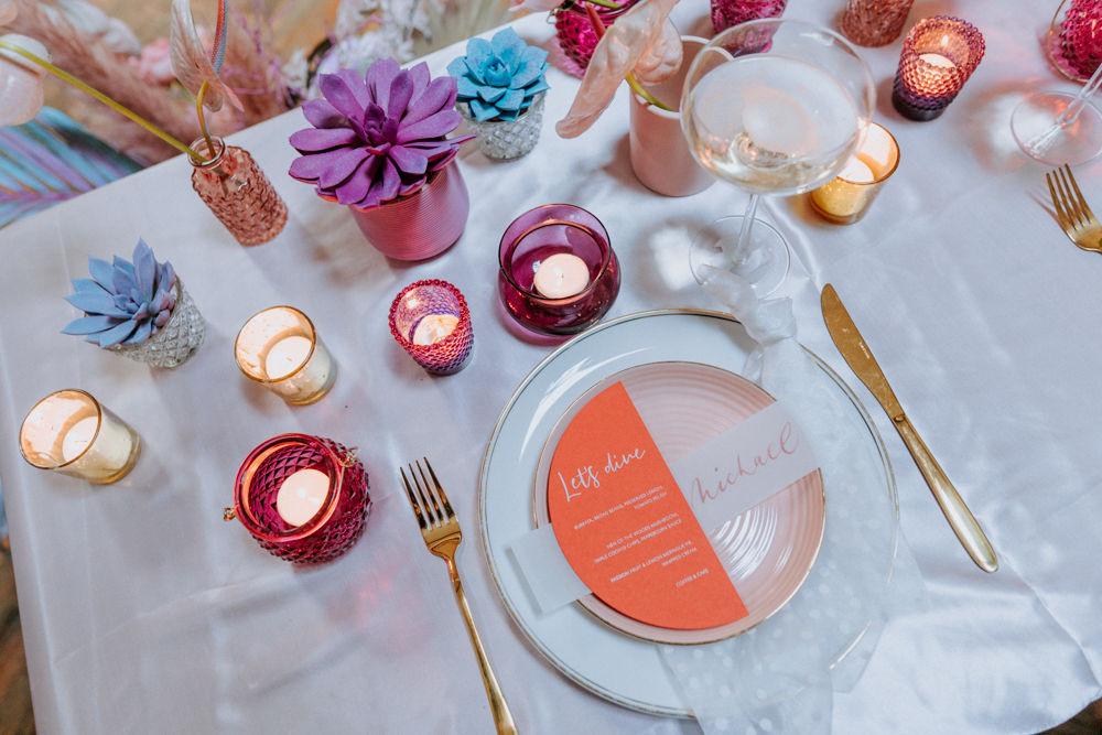 pastel table decor, alternative wedding