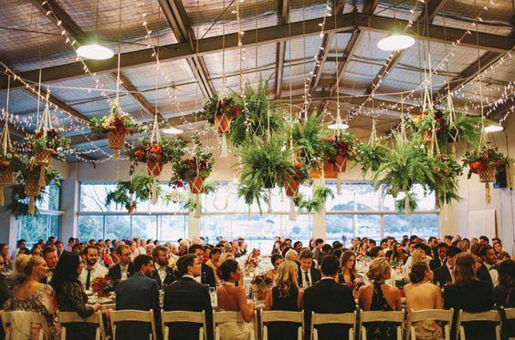 hanging plants macrame wedding reception decor styling