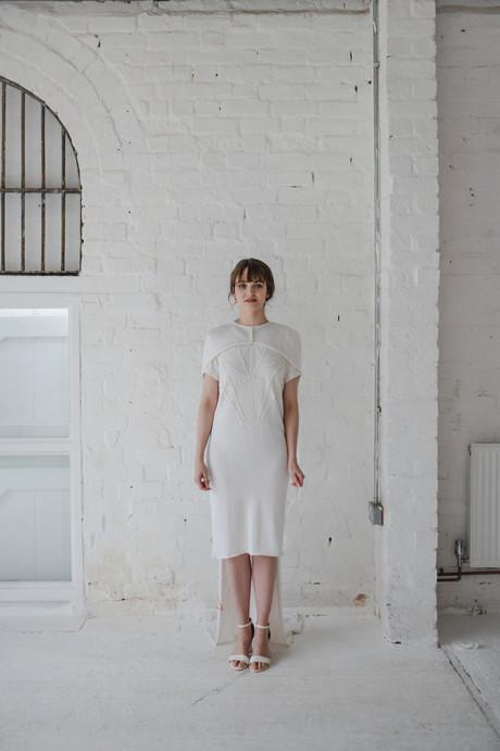 minimalist bridalwear embroidered cape