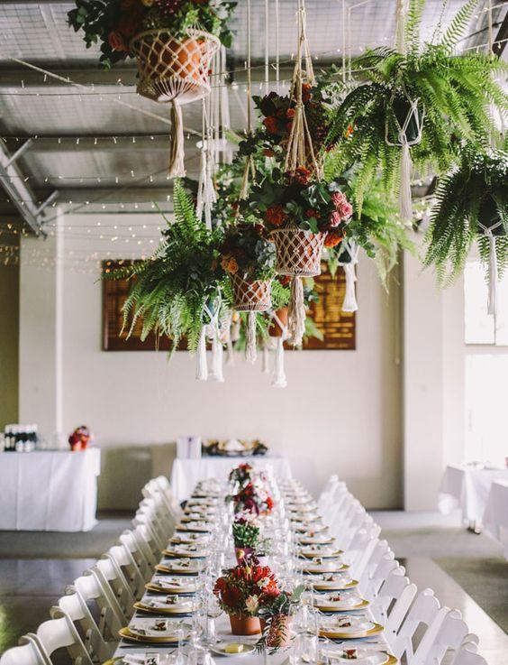 Wedding reception macrame hangers plants decoration