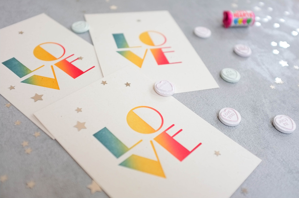 Love stationery wedding invitations colourful