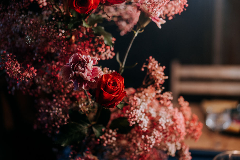 pink and red gothic florals