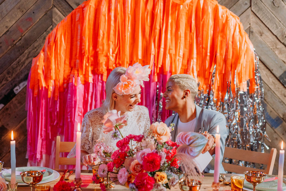 lgbtq wedding couple pink and orange boho