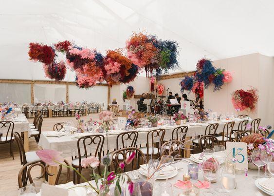 pink flower clouds wedding venue reception decor