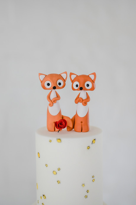 cute fox wedding cake toppers vegan