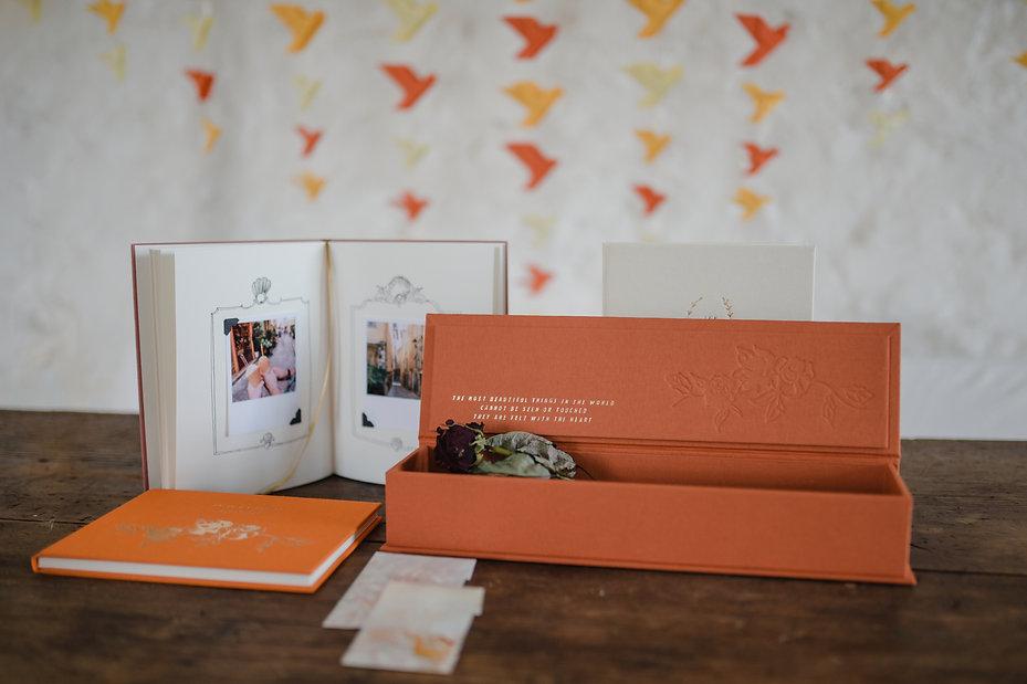 wedding keepsake journals orange gold diary box momento