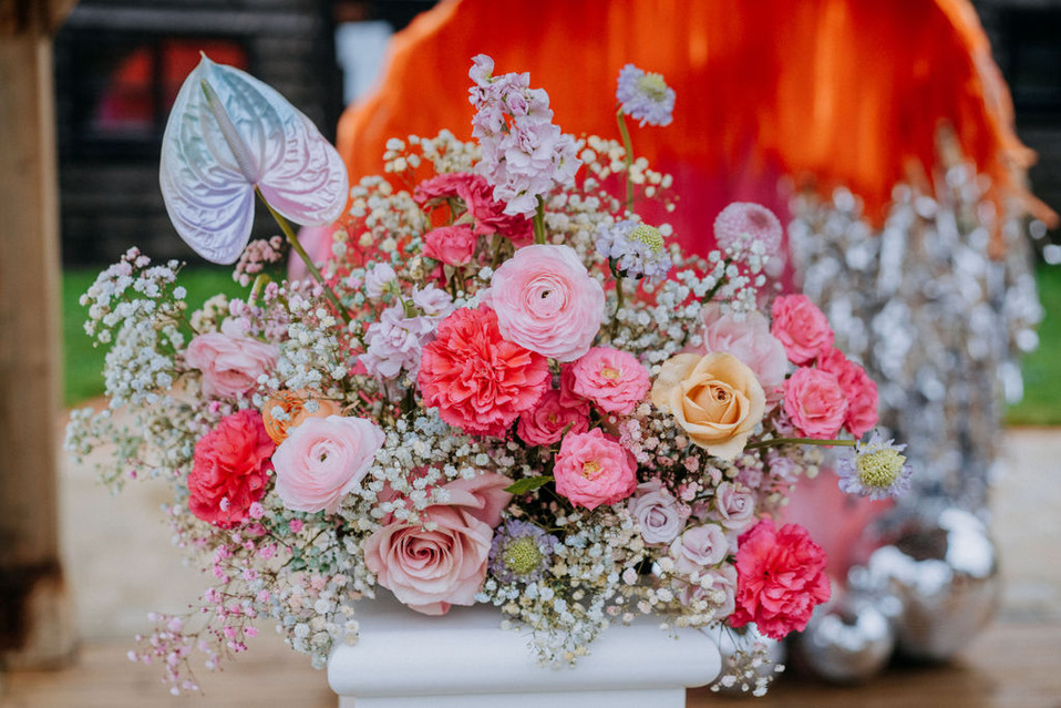 bright and bold pastel wedding flowers