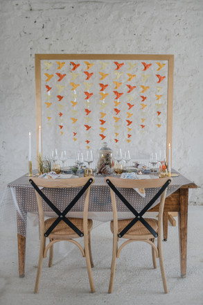 origami bird backdrop kitsch minimalist styling