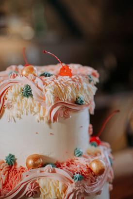 kitsch pink wedding cake
