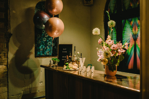Wedding bar styling by Jump the Broom. Flowers Dove and Myrtle. Image Chloe Mary Photo.