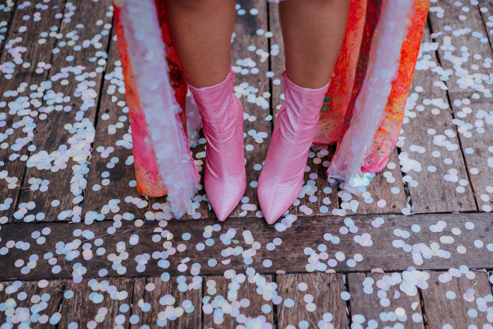 pink sparkly boots and pastel confetti