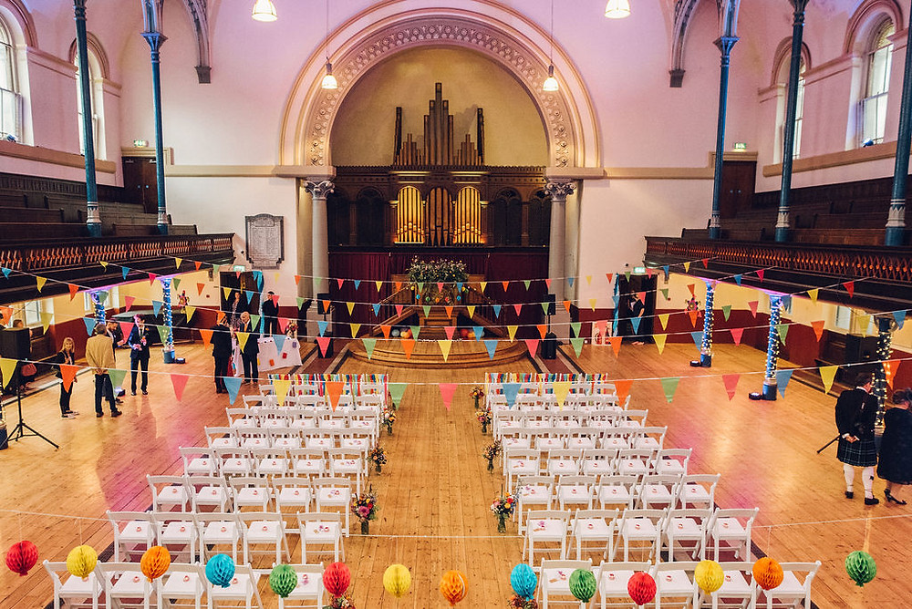 round chapel hackney colourful wedding venue