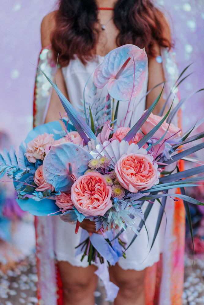 holographic bold flowers, alternative bridal bouquet