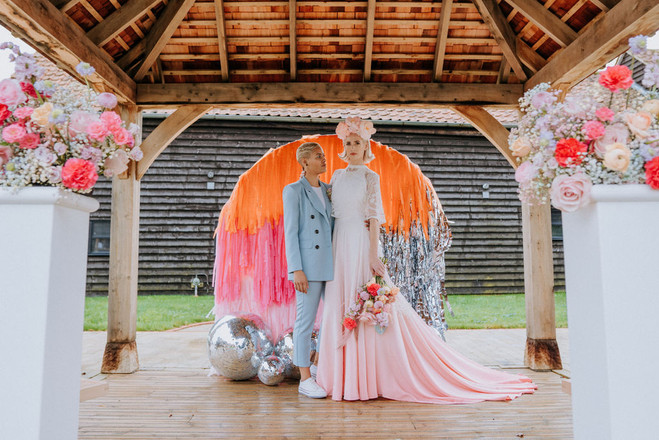 lgbtq colourful wedding couple