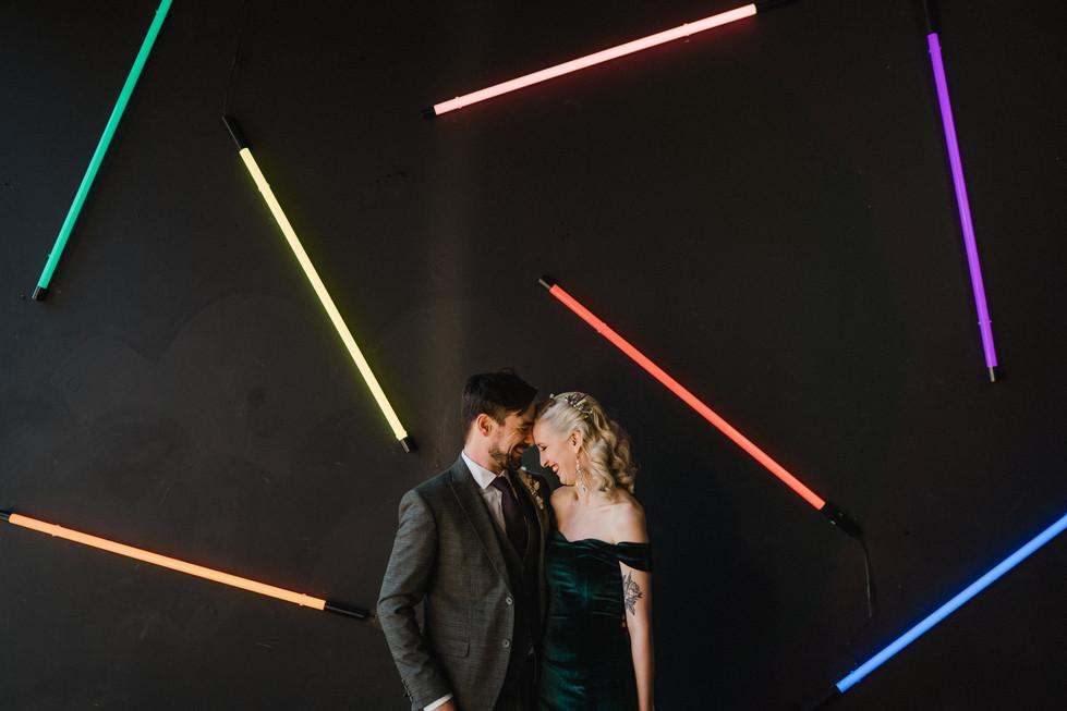 Neon backdrop wedding