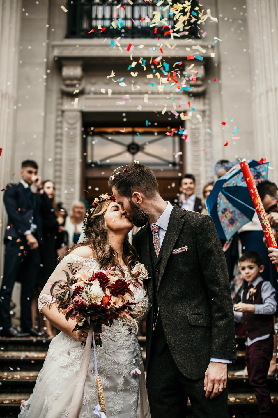 Colourful confetti shot london wedding