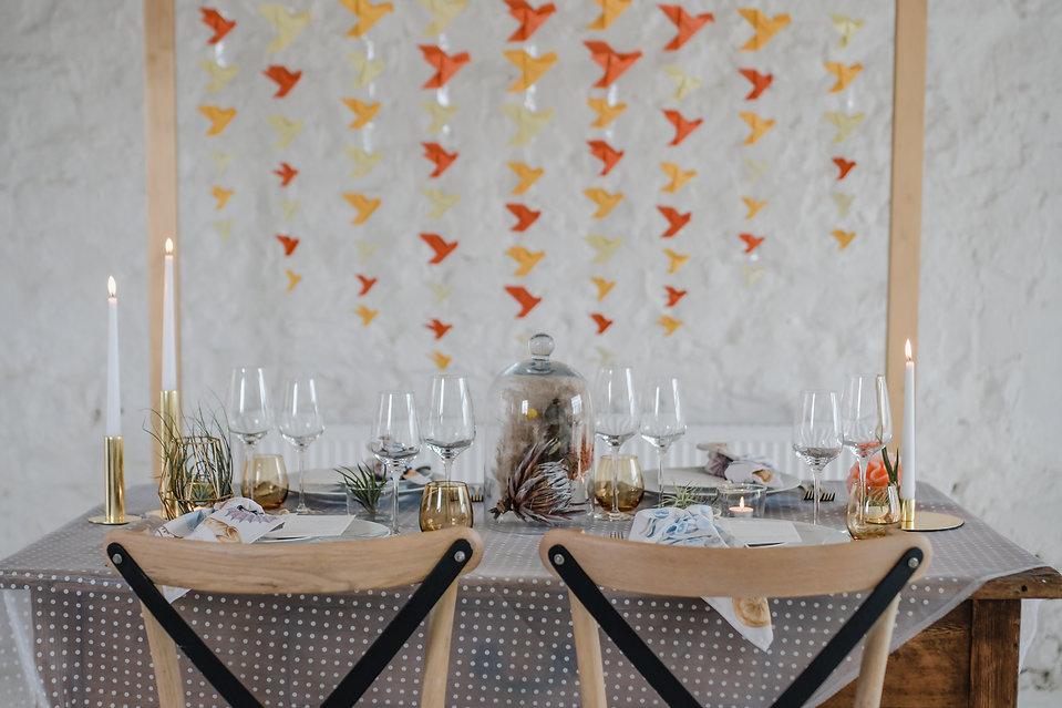 minimalist kitsch wedding table jump the broom