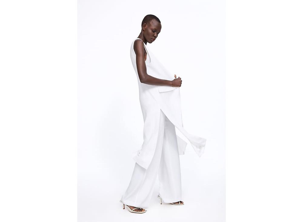 wide leg trousers bridal separates Zara flowing bride wedding