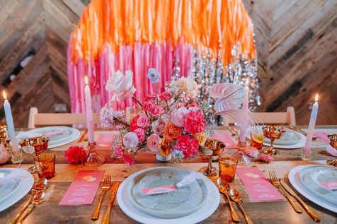 pink and orange colourful wedding table