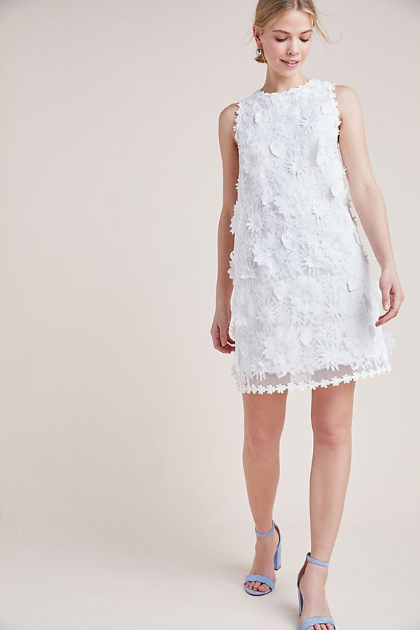 embroidered lace shift dress Anthropologie wedding bridal
