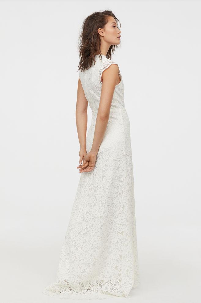 long white lace dress bridal gown high street h&m
