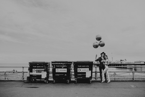 Bride and Groom Brighton beach. Image Chloe Mary Photo.