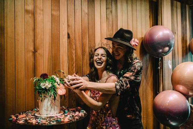 Cake cutting vegan cake by Tiny Sarah's Cakes. Balloons Peach Blossom. Image Chloe Mary Photo.